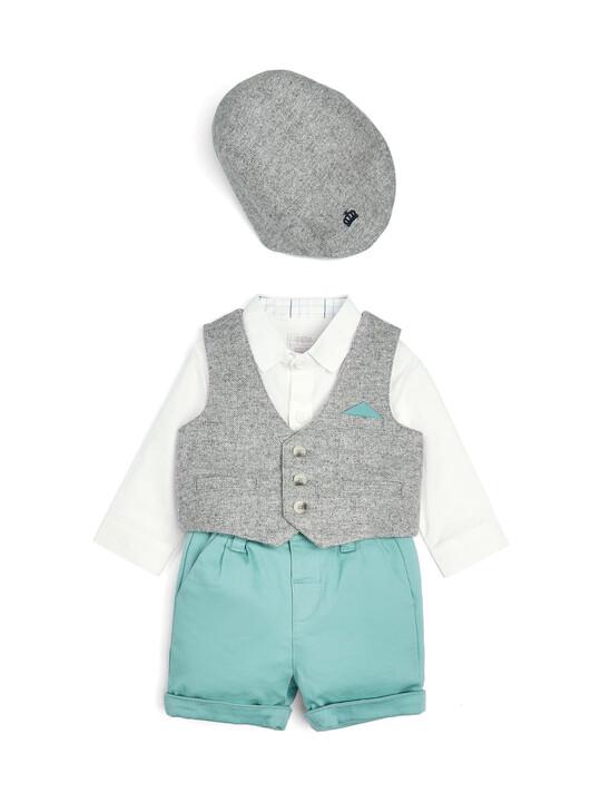 Grey & Green Bodysuit, Waistcoat, Shorts & Cap - 4 Piece Set image number 1
