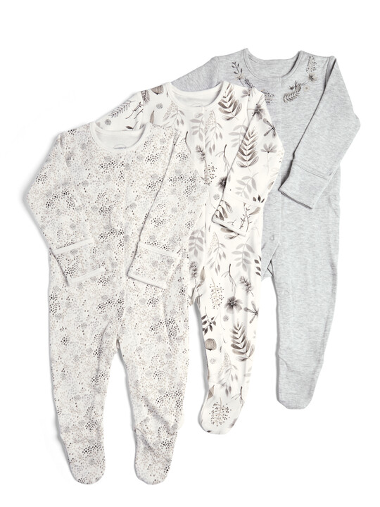 3 Pack of  Monochrome Flower Sleepsuits image number 1