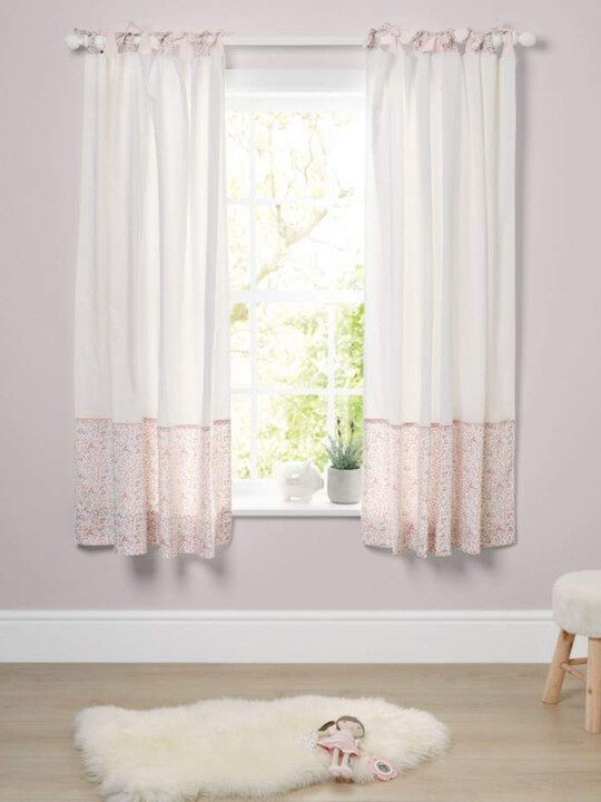 Lilybelle Tie Top Curtains (132x160cm) - Pink image number 1