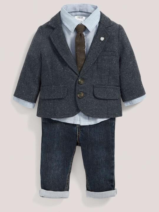 Occasion Tweed Blazer, Shirt, Tie & Jeans Set image number 1