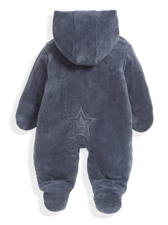 Soft Faux Fur Star Design Pramsuit Blue- New Born image number 4