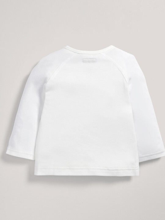 Bamboo Fabric Wrap Top White- New Born image number 4