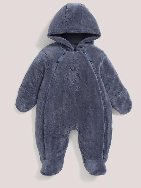 Soft Faux Fur Star Design Pramsuit Blue- New Born image number 2