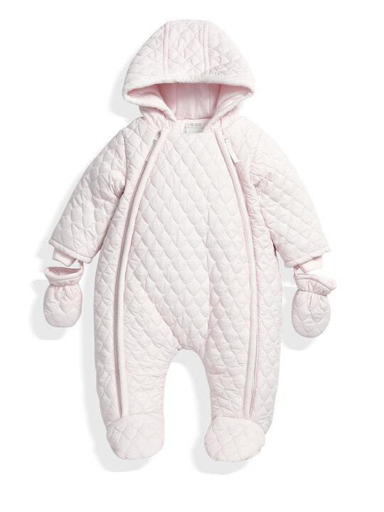 Quilted Pramsuit Pink- 0-3 image number 1