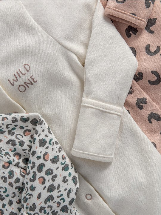 Leopard Print Jersey Cotton Sleepsuits 3 Pack image number 2