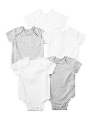 5 Pack Short Sleeve Bodysuits Grey