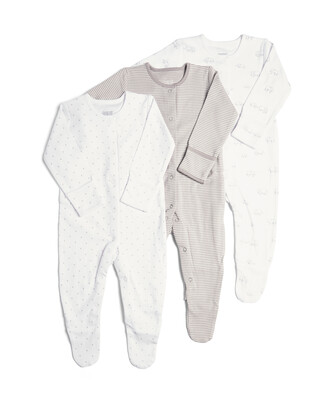 3 Pack of  Elephant Sleepsuits
