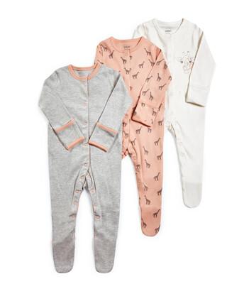 Giraffe Jersey Sleepsuits - 3 Pack