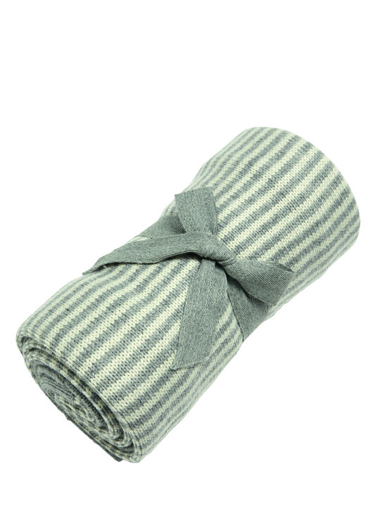 Knitted Blanket - Grey & White Stripe image number 2