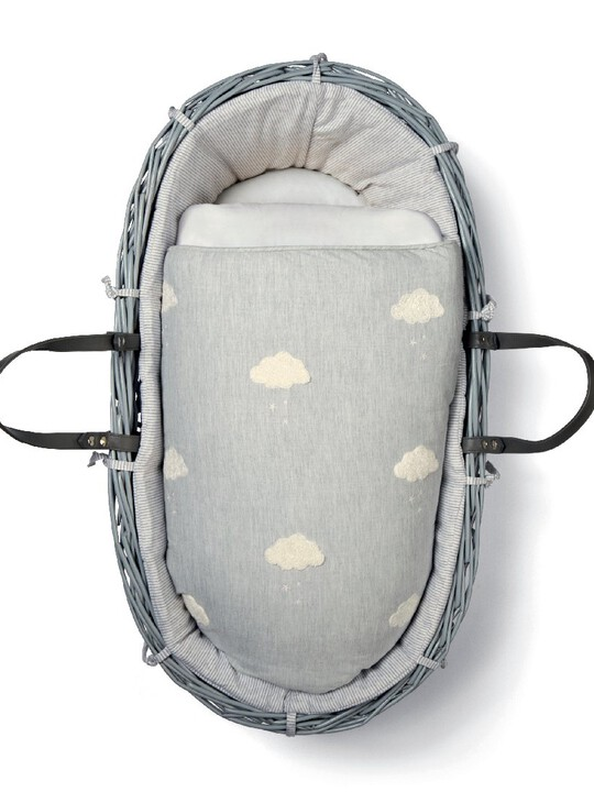 Dream Upon A Cloud Moses Basket - Grey/White image number 1