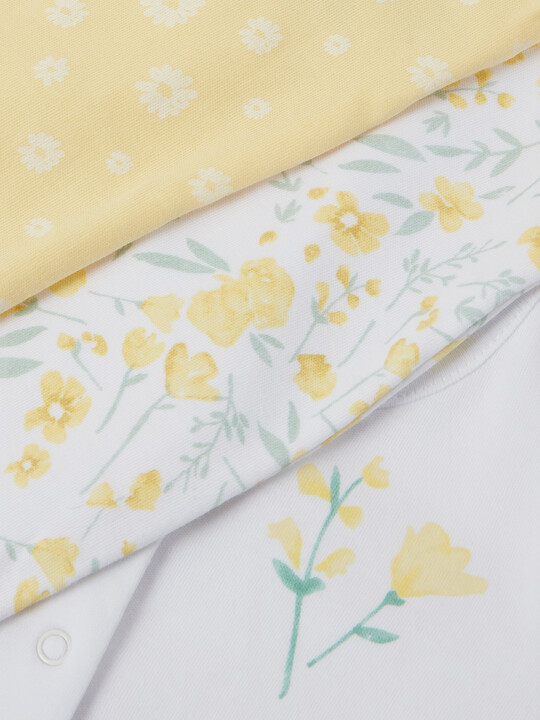 3Pack of  YELLOW FLRL Sleepsuits image number 3