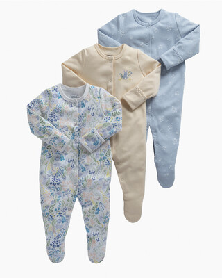 Floral Bunny Jersey Cotton Sleepsuits 3 Pack