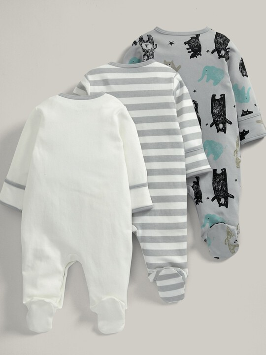 3 pack Bear Print All-In-Ones- 0-3 months image number 2