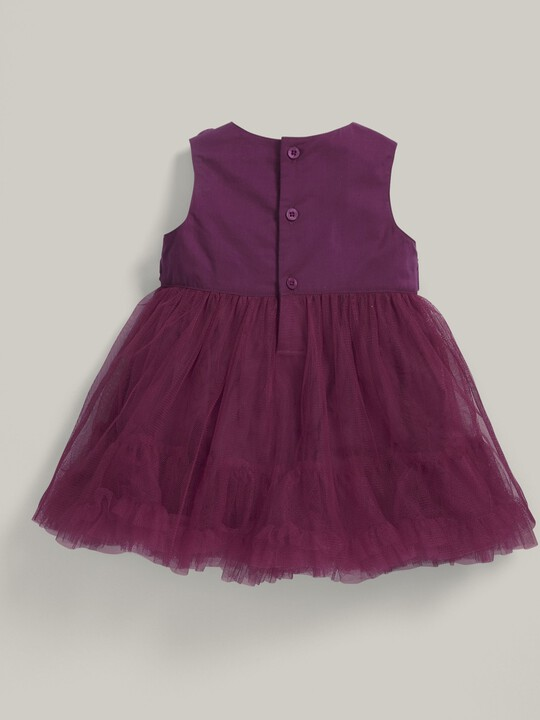 Rose Neckline Waterfall Tulle Dress Berry image number 3