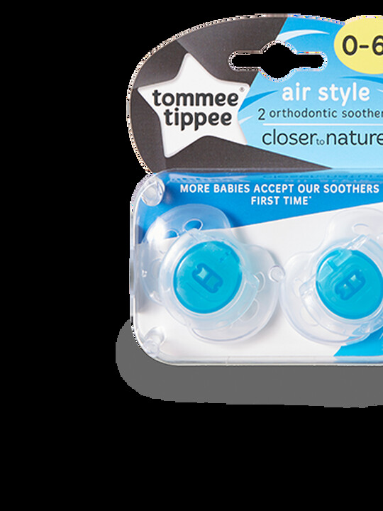 Tommee Tippee Closer to Nature Air Style Soothers 0-6 months (2 Pack) - Blue image number 1