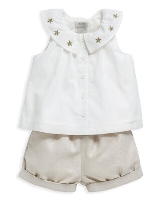 2 Piece Blouse & Shorts Set