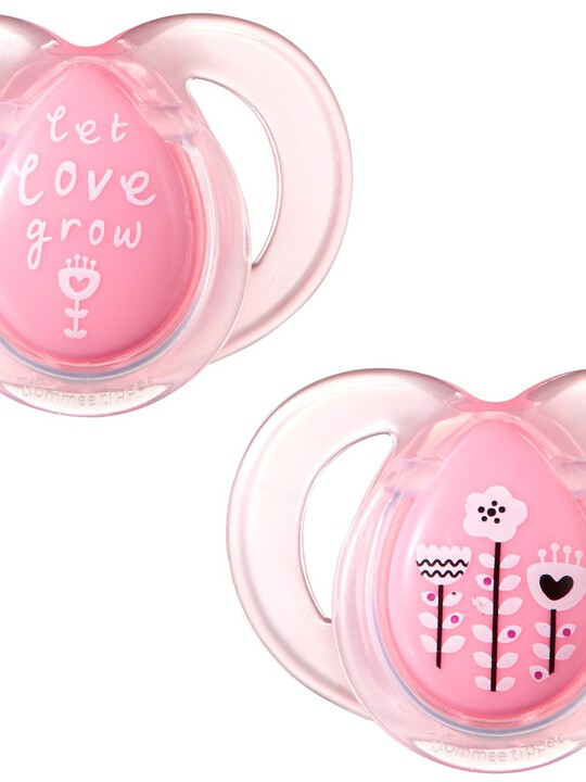 Tommee Tippee Closer to Nature Any Time Soothers 6-18 months (2 Pack) - Pink image number 1