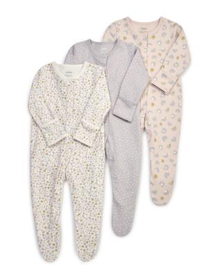 Leopard Print Jersey Cotton Sleepsuits 3 Pack