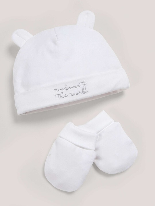 Hat & Mitts Set White- New Born image number 1