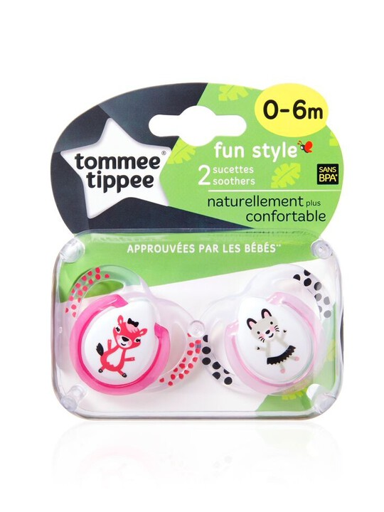 Tommee Tippee Closer to Nature Fun Style Soothers 0-6 months (2 Pack) - Pink image number 1
