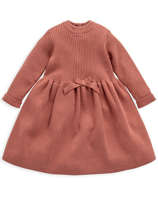 Knit Bow Long Sleeved Dress