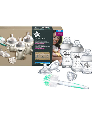 Tommee Tippee Closer to Nature Glass Feeding Bottle Kit, Starter Set - Clear
