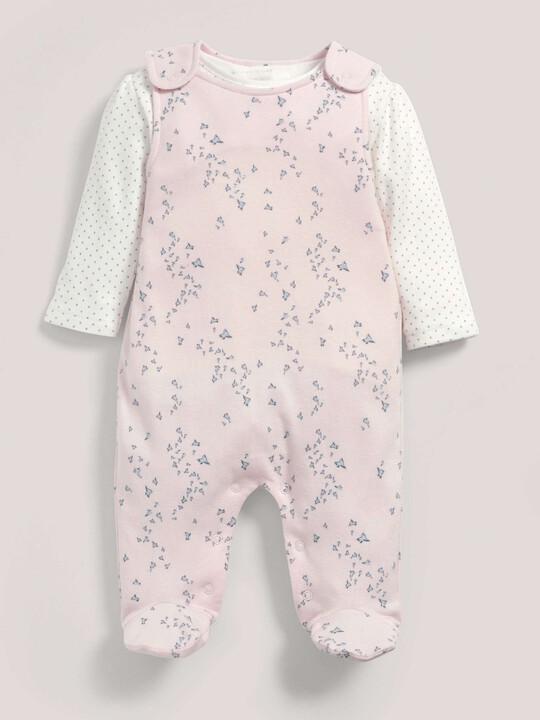 Pink Jersey Dungaree & T-Shirt Set image number 1