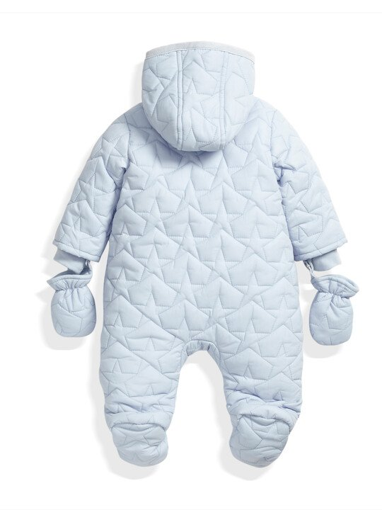 Quilted Pramsuit Blue- 0-3 image number 4