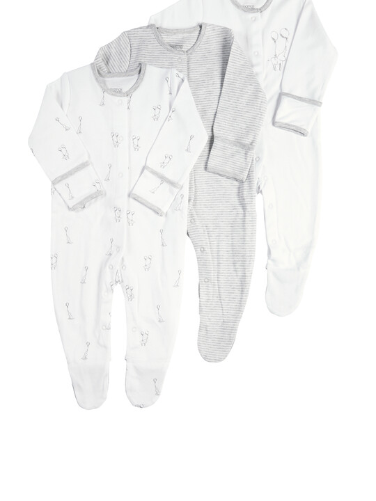 Pack of 3 Elephant Sleepsuits image number 1