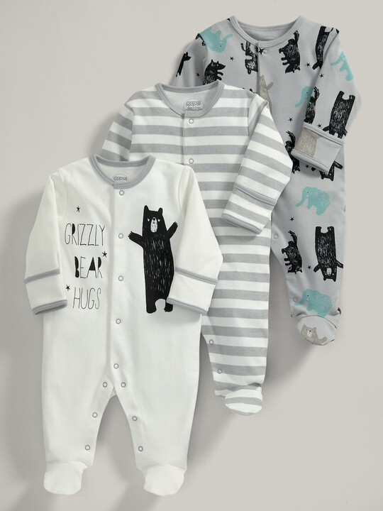 3 pack Bear Print All-In-Ones- 0-3 months image number 1