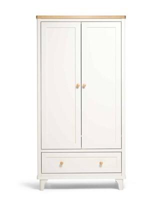 Lucca 2 Door Nursery Wardrobe with Storage Drawer - Ivory Oak