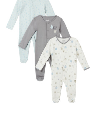 3Pack of  BEAR & TREE Sleepsuits