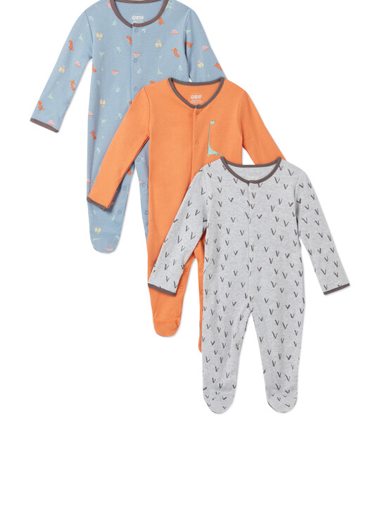 3Pack of  DINO Sleepsuits image number 1