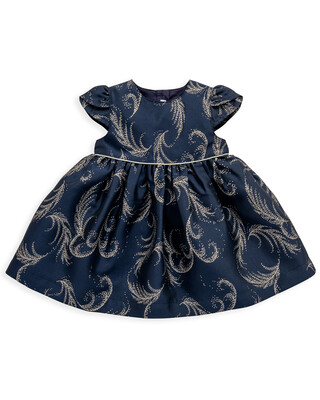 Navy & Gold Feather Dress