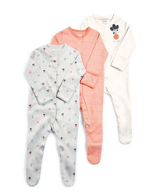 Beet Jersey Sleepsuits - 3 Pack