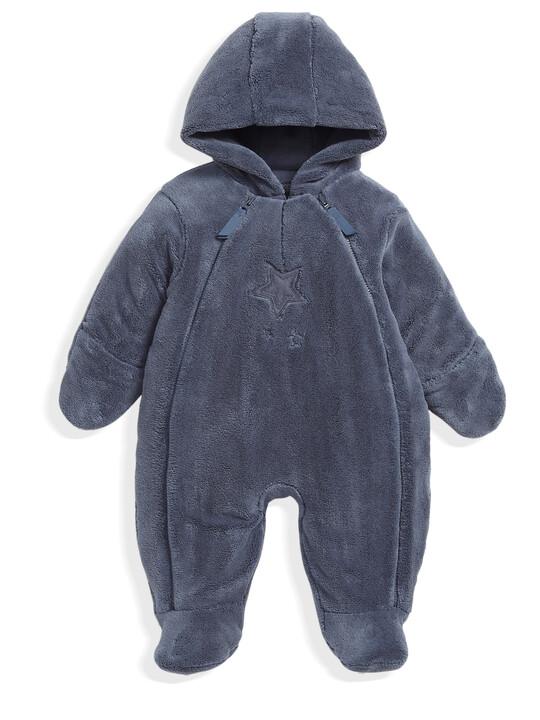 Soft Faux Fur Star Design Pramsuit Blue- New Born image number 1