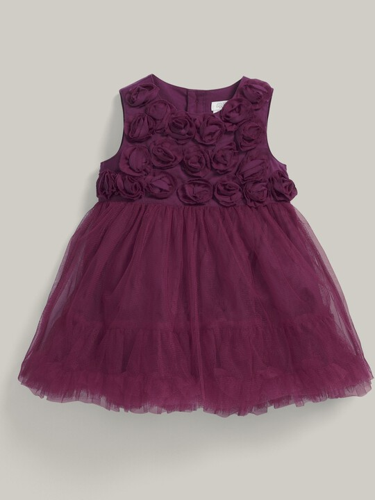 Rose Neckline Waterfall Tulle Dress Berry image number 1