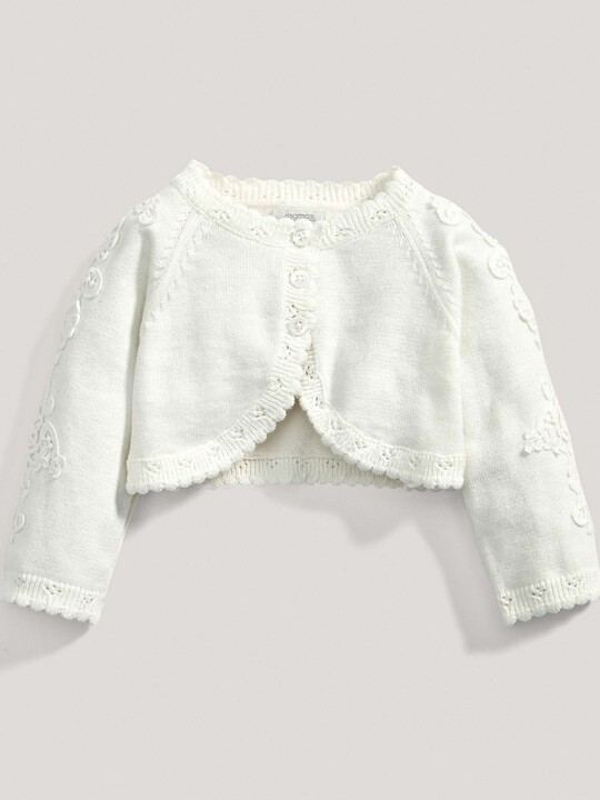 Lace Applique Detail Knit Cropped Cardigan Cream- New Born image number 1