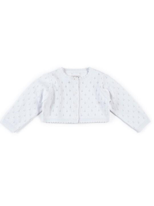 Fine Knit Cardigan - White image number 1