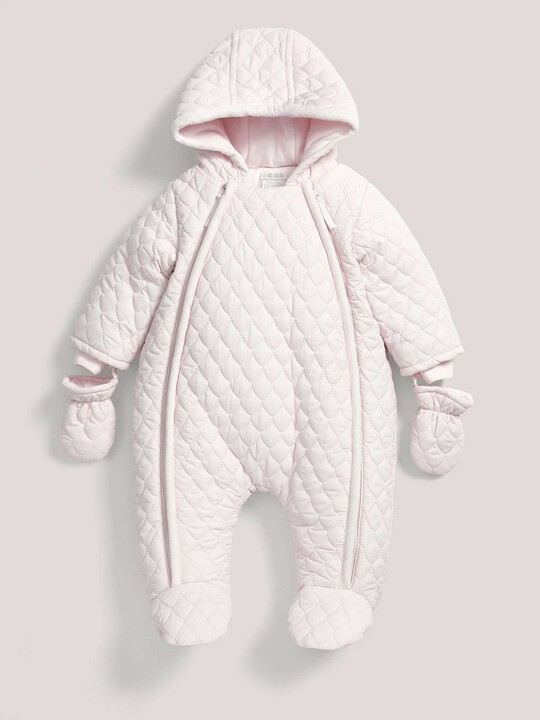 Quilted Pramsuit Pink- 0-3 image number 2