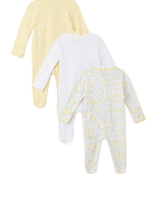 3Pack of  YELLOW FLRL Sleepsuits image number 2