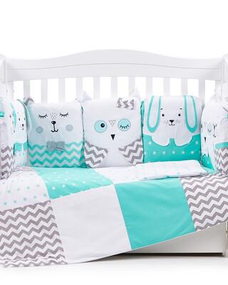 "Veres ""Smiling Animals"" Mint bedding set 6-in-1"