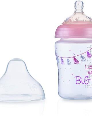 Nuby Little Moments Slow Flow SoftFlex Bottle - 270 ml,Pink