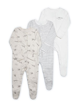 Animal Jersey Sleepsuits - 3 Pack