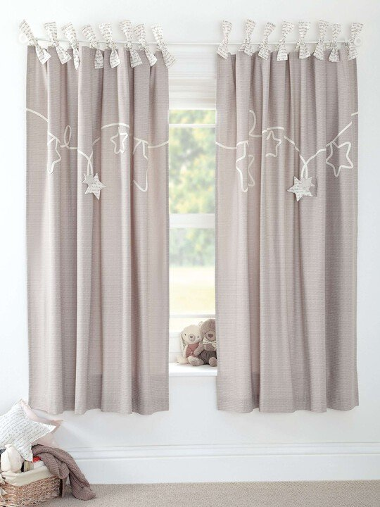 Millie & Boris - Lined Tie Top Curtains - 132 x 160cm image number 1