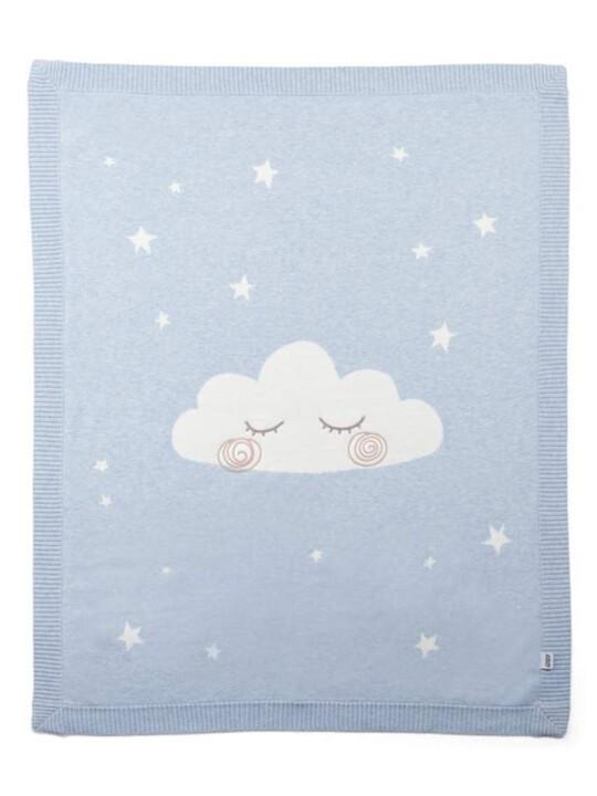 Knitted Cloud Blanket - Blue image number 1