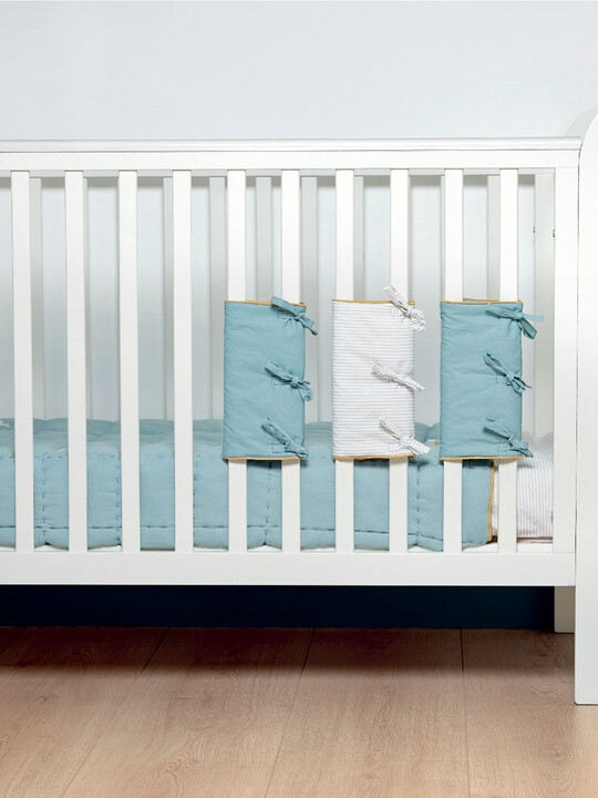 Welcome to the World Farm Cot Bar Covers (Pack of 4) - Blue Striped image number 2