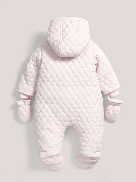 Quilted Pramsuit Pink- 0-3 image number 3
