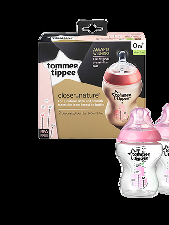 Tommee Tippee Closer to Nature 2x260ml Easi-Vent BPA free Decorative Feeding Bottles - Pink image number 1