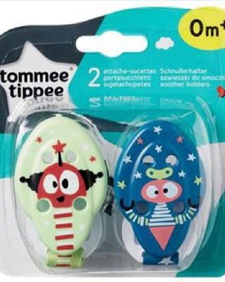 Tommee Tippee Closer to Nature Soother Holders x 2 (YellowBlue)